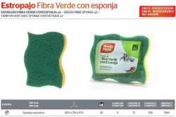 ESTROPAJO FIBRA VERDE C ESPONJA LOTE 2