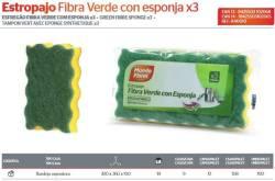 ESTROPAJO FIBRA VERDE C ESPONJA LOTE 3