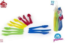 SET 12 CUBIERTOS PLASTICO PICNIC COLORS