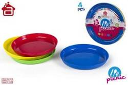 SET 4 PLATOS PLASTICO PICNIC COLORS 4 S
