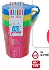 SET 4 TAZAS PLASTICO PICNIC COLORS 4 S