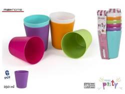 SET 6 VASOS PLASTICO PICNIC COLORS