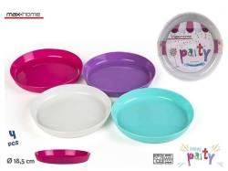 SET 4 PLATOS PLASTICO PICNIC COLORS
