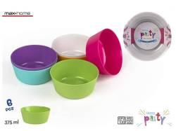 SET 6 BOLS PLASTICO PICNIC COLORS