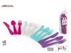 SET 12 CUBIERTOS PLASTICO PICNIC CLORS