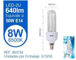 LAMPARA LED 2U 8W E14 LUZ FRIA