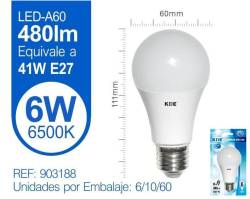 LAMPARA LED ESTANDAR 6W E27 LUZ FRIA
