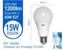 LAMPARA LED ESTANDAR A60 15W E27 LUZ FRIA