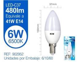 LAMPARA LED VELA C37 6W E14 LUZ FRIA