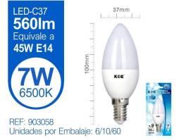 LAMPARA LED VELA C37 7W E14 LUZ FRIA