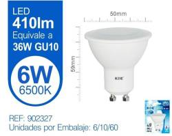 LAMPARA LED GU10 6W LUZ FRIA