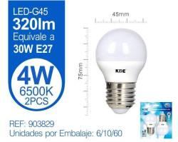 LAMPARA LED ESFERICA G45 4W E27LUZ FRIA X2